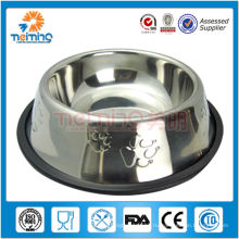 дешевые печатных собака чаша из нержавеющей с резина