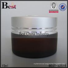 15ml amber glass jar wholesale, silver aluminum cap, logo printed, one free sample