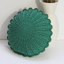 Emerald Green Color Crochet Round Cushion Pillow