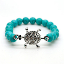 Turquoise 8MM perles rondes Stretch Bracelet en pierre avec alliage de tortue Diamante
