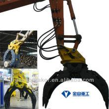 La pinza hidráulica KOBELCO SK200 SK210, accesorio del excavador aprieta, la grapa de registro de madera
