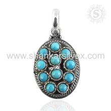 Splendide pendentif en pierres précieuses en turquoise à la main 925 bijoux en argent sterling Jaipur Bijoux en gros