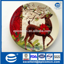 2015 new products Christmas deer decorated porcelain plates