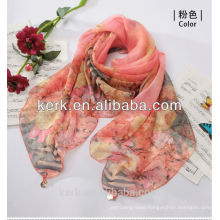 Latest Lady Fashion Custom-Made Promotion 100% polyester silk feel scarf,W3019