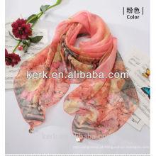 Último Lady Fashion Custom-Made Promoção 100% poliéster lenço de seda sentir, W3019