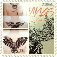 Đen mới & trắng cánh Sketch Tattoo Book Tattoo Flash
