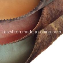 Long Pile PU Couro Tecido Bonded para Warmfashion vestuário