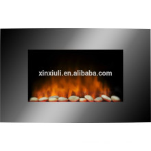 wall mounted fireplace with pebble fuel effect