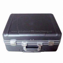 Black ABS Tool Case with Silver Aluminum Frame, Two Metal Key Locks and Combination Lock