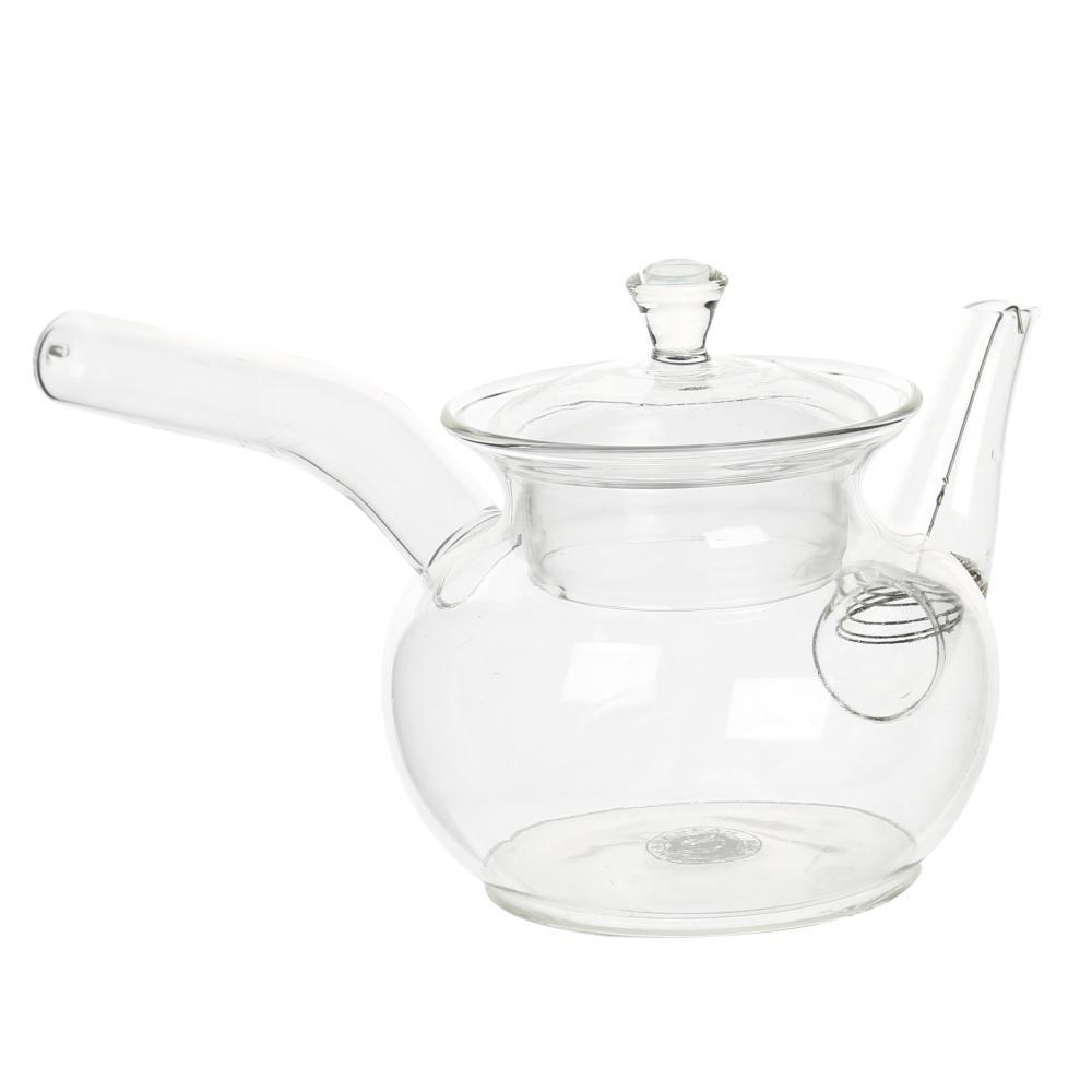 Clear Glass Kongfu Teapot With Long Handle