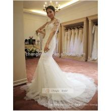 Lace Appliqued Cuello Cachemira Sirena vestido de novia con el tren de la capilla