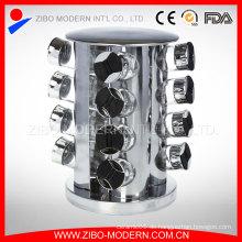 Home Metal Revolving Spice Rack mit 16 Glass Spice Gläser