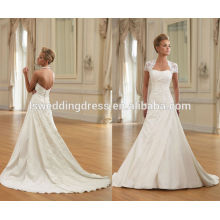 WD0128 sweetheart decote capela comprimento tren zíper para trás cintura natrual Uma linha mangas desmontáveis vestido de noiva de renda 2014