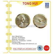 Revestimento de ouro Cinzelado de metal Moeda comemorativa, moeda de lembrança