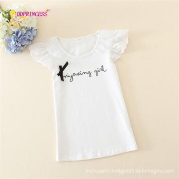 new arrival printing children vest lace design child white shirt summer kids girls t shirt
