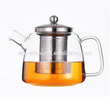 Handgefertigte Fancy Clear Pyrex Glas Teekanne mit Metall-Infuser 1000ml