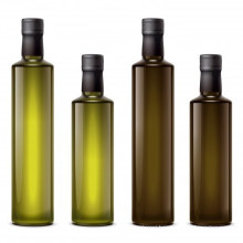 Empty Square Dark Green Cooking Olive Oil Glass Bottle