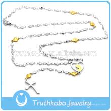 Top Verkauf hohe Qualität Rosenkranz Design hohe Kragen Hear Shaped Bead Style Edelstahl Kreuz Halskette mit Kreuz Anhänger