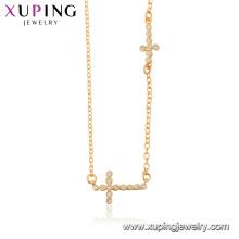 44510 xuping 18 Karat Gold Farbe Großhandel Modeschmuck Religion Kreuz Halskette für Damen