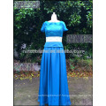 Elegant Blue Chiffon A Line Beatu Short Sleeve Prom Dress Top Lace Women Long Dress For Prom