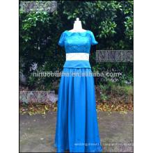 Elegant Blue Chiffon A Line Beatu Short Sleeve Prom Dress Top Lace Women Long Dress For Prom