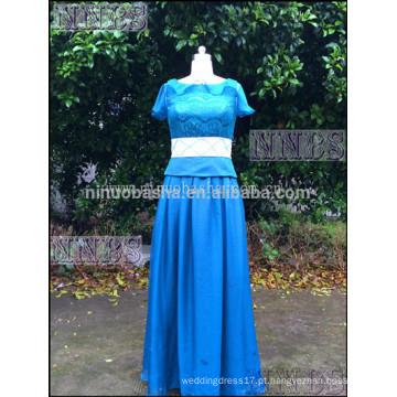 Elegant Blue Chiffon A Line Beatu Vestido curto Prom Vestido Top Lace Women Vestido longo para Prom
