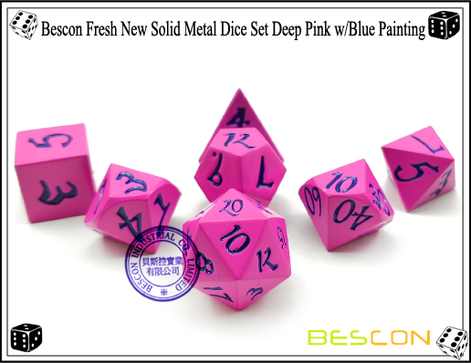 Bescon Fresh New Solid Metal Dice Set Deep Pink with Blue Painting-2