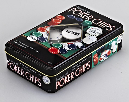 Poker Chips Set In Tin Box