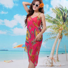 2017 elegante vestido de vacaciones bali sarong gasa bufanda floral playa pareo