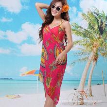 2017 élégant vacances robe bali sarong en mousseline de soie écharpe floral plage pareo