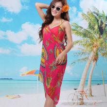 2017 elegante férias vestido bali sarong chiffon lenço floral praia pareo