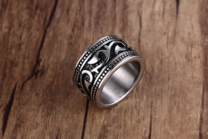 Antique Silver Plated Stainless Steel Ring For Men