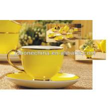 Желтый glaze15pcs выложены с съедобным золотом кофе набор костяного фарфора чашка кофе набор