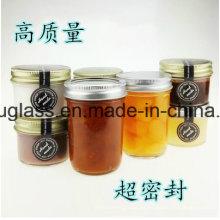Venta al por mayor jarra de salmuera de vidrio con tornillo tapa de metal para preservar, almacenamiento