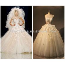 Real Photo 2014 Belle robe de mariée Robe de mariée Sweetheart Applique Longueur à pied Robe de mariée en dentelle perlée NB024