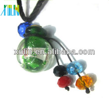 handmade transparent charms mixed color round perfume bottle pendant with wood cap jewelry accessories