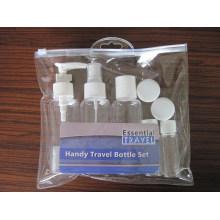 Sistema cosmético de la botella del recorrido 2PCS, rociador fino de la niebla / loción / botella superior del casquillo del disco, tarro