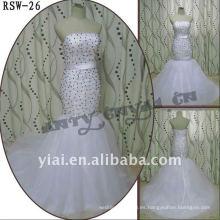 RSW-26 2011 Venta caliente nuevo diseño damas moda elegante personalizado negro y plata de cuentas sirena vestido nupcial
