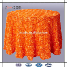 Hot Sale Customized Solid Color Luxury Rosette Table Cloth for Wedding