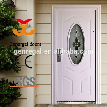 Steel security exterior door with oval glass