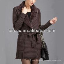 Senhoras 13STC5361 da pele casacos longos da camisola