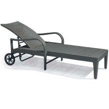 Outdoor Patio Hotel Rattan Wicker Lounge Chair with Wheels