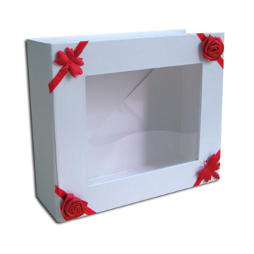 Ribbon tied Fold Ridd Box With Clear Window