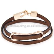 Fashion low moq barato venta al por mayor caliente marrón cuero abrigo pulsera