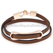 fashion low moq cheap wholesale hot sale brown leather wrap bracelet