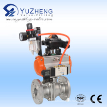 2PC válvula de bola de acero inoxidable con actuador neumático