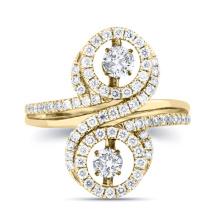 Double bague en diamant 925 bijoux en argent plaqué or