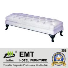Meubles d'hôtel populaires White PU Nice Bed Foot Stool (EMT-BS08)