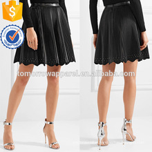 Hot Sale Black Leather Ruffled Pleated Mini Summer Skirt Manufacture Wholesale Fashion Women Apparel (TA0049S)