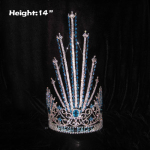 14in Height Rhinestone Pageant Crowns With Purple Diamonds